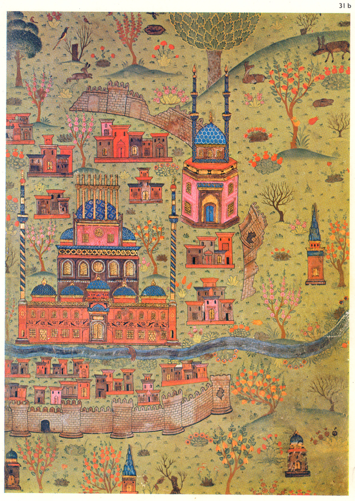 16th century map of Soltaniyeh, Zanjan, Iran. Several colorful buildings sit amongst hills, walls, and a river. Interspered are animals and trees with colorful birds.