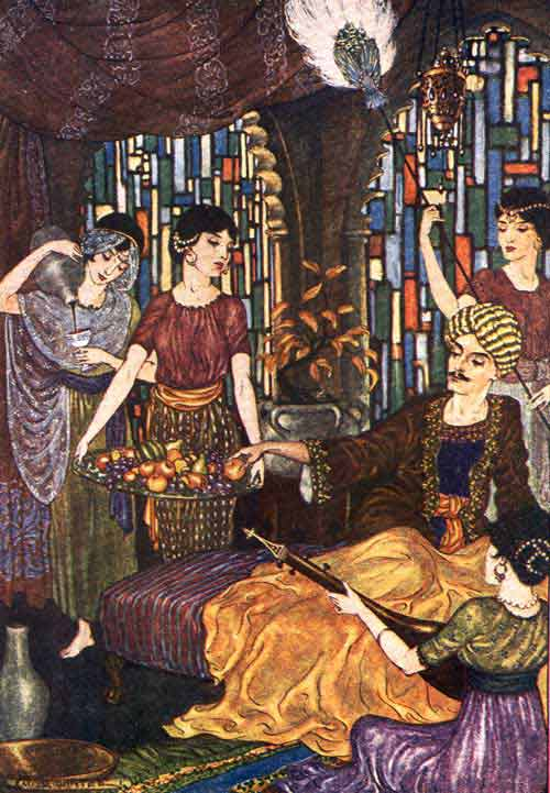 Illustration by Milo Winter, 1914. A man in ornate robes with a mustache and turban is seated in a hall with colorful stained glass windows. Around him are four beautiful women; one fans him, one plays an instrument, one offers him a tray of fruit, one poor a glass of wine.
