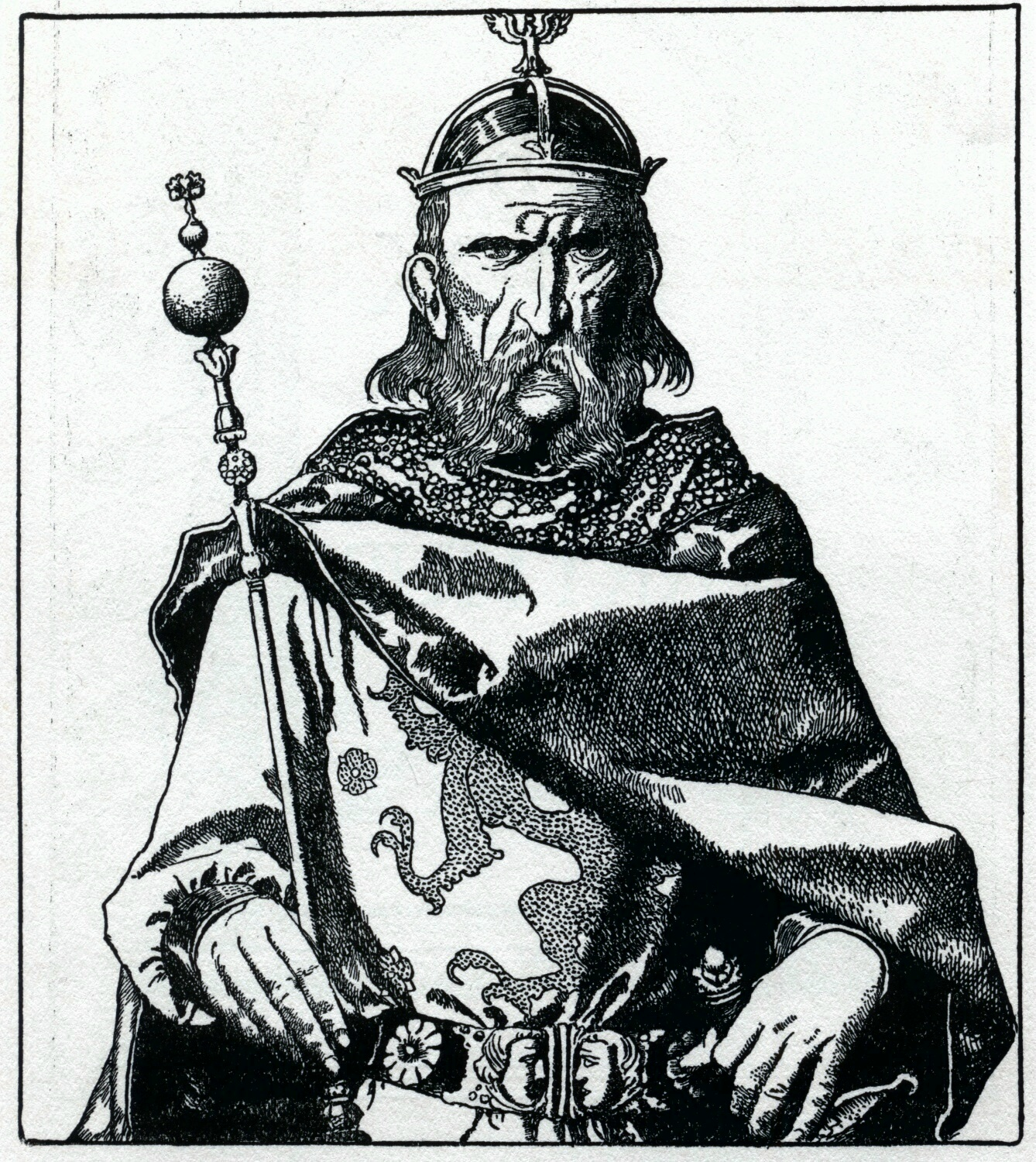 Uther Pendragon by Howard Pyle, 1903. A solemn man with a beard and mustache sits enthroned with a scepter and crown.