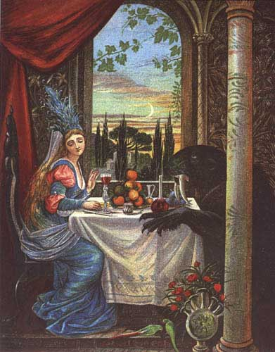 Illustration by Eleanor Vere Boyle, 1875. A beautiful woman with long blonde hair sits at a dinner table with a sabre toothed cat-looking beast. She looks away from him. The table has wine and oranges; trees and the moon are visible in a window behind them.