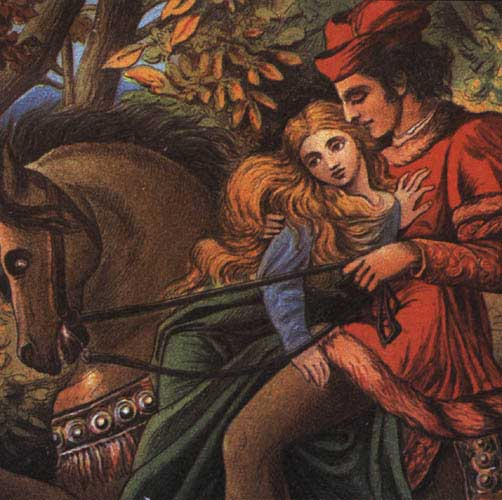 Illustration by Eleanor Vere Boyle, 1875. A handsome, dark-haired prince in a red suit and hat looks down at a beautiful lady with long blonde hair. Both sit atop a brown horse, she on his lap.