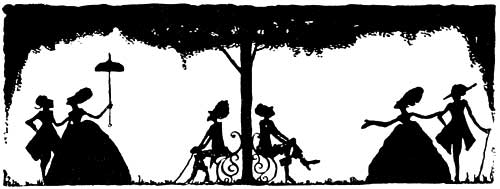 Illustration by Harry Clarke, 1922. This black and white illustration shows the silouhettes of Cinderella's stepsisters with their two great lords. One holds a parasol. Two figures are seated in the middle, watching the couples.