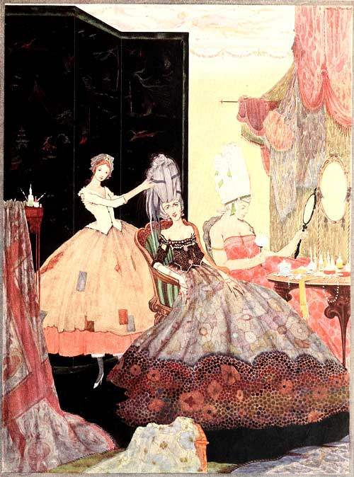 Illustration by Harry Clarke, 1922. Cinderella, dresses in a patched skirt, stands behind her richly-dressed stepsisters, arranging their hair. One stepsister looks into a mirror.
