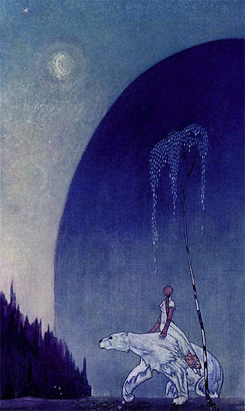 Illustration by Kay Nielsen, 1914. A girl rides a polar bear under a sliver of moon, with a hill in the background and a tree in foreground.