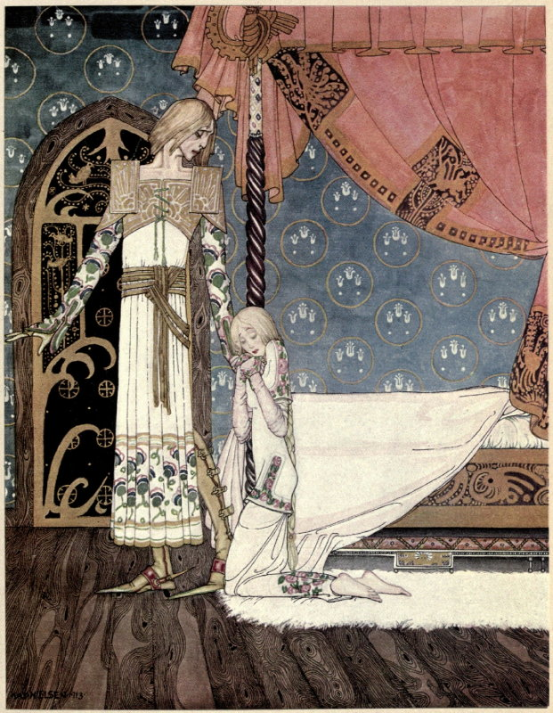 Illustration by Kay Nielsen, 1914. A prince in ornate dress looks down at a girl kneeling by his feet beside a bed.