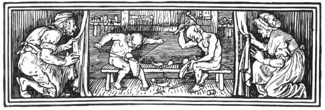 The Elves by Walter Crane, 1886. The Showmaker and his wife hide behind curtains at left and right respectively, watching two shirtless, pointy-eared elves with string and hammers make a pair of shoes.