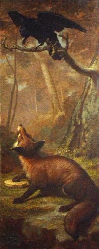 The Fox and the Crow by Leon Rousseau. A fox looks up at a crow on a tree branch.
