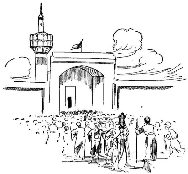 Illustration by John R. Neill, 1906. A bustling Persian market with sellers and buyers, and a minaret above it. A man with a big stick stands at the foreground.
