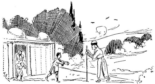 Illustration by John R. Neill. A child runs out of a house to great an old man with a big stick.