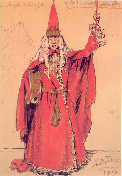 Illustration by Alexandre Benois, 1907. A man in long red robes and a tall, pointy red hat holds a red wand. He has long, curly white hair.
