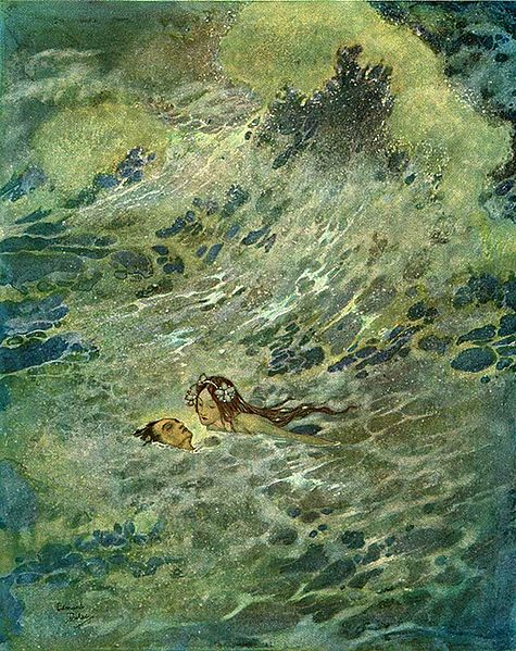 Illustration by Edmund Dulac, 1911. The mermaid looks down into the prince's face, which she has pulled above the surface of the water.