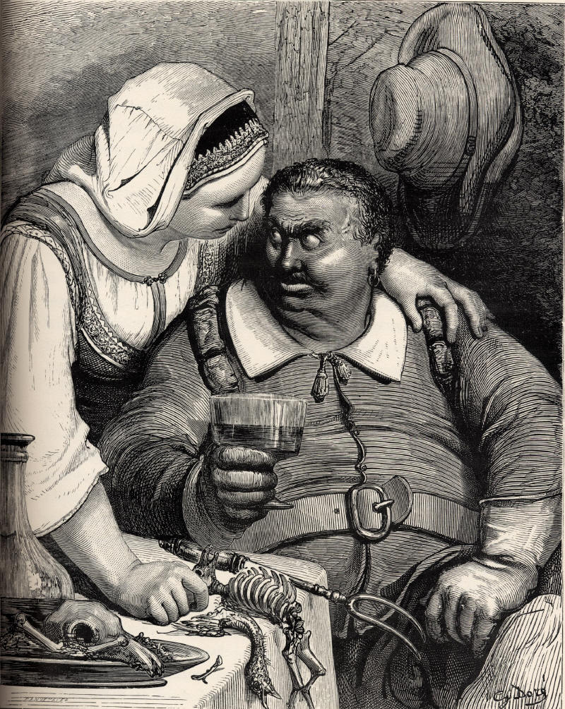 Illustration by Gustave Doré, 1865. The giant is seated holding a glass of wine, with a flagon of wine and the bones from his dinner at the table. His wife stands behind him with her arm around his shoulders, speaking to him.