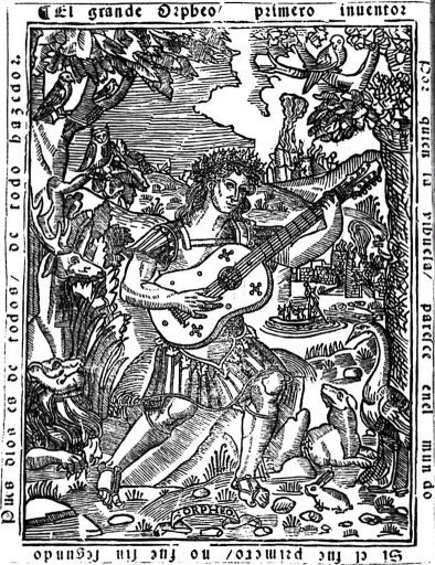 Orpheus in El Maestro by Luys Milan, 1536. Orpheus plays his lute while animals watch calmly. A river and town are visible behind him.