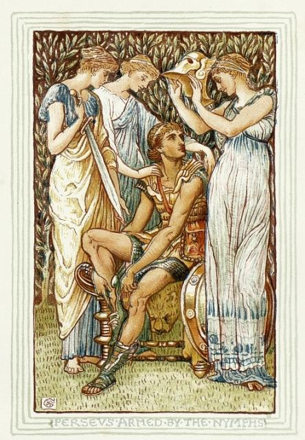 Perseus Armed by the Nymphs by Walter Crane, 1892. Three nymphs stand around the seated Perseus, offering him a sword, shield, and helmet.
