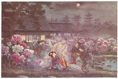 Pricess Aya saved from her fall. A beautiful woman in an elaborate blue, red, and orange kimono is helped by a man in long robes. Two maids-of-honor look on. In the background are bushes of pink and white peonies.