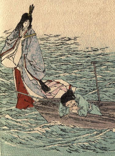 Illustration by Kobayashi Eitaku, 1886. Urashima leans on the side of his boat, sleeping. A beautiful girl in long blue and red robes stands on the water holding a fan and looking down on the sleeping Urashima.
