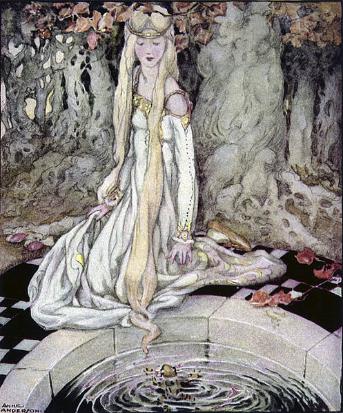 The Frog Prince by Anne Anderson. A princess with long blonde hair and a white and gold dress looks down at a frog swimming in a small pool.