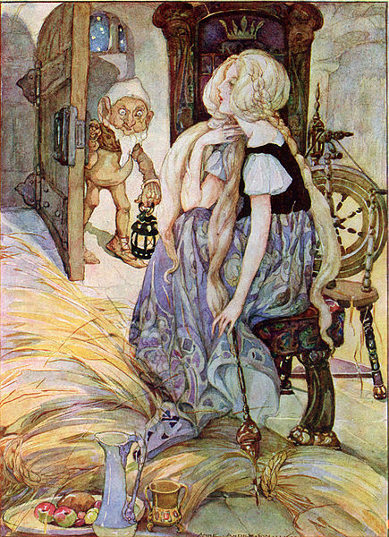 Illustration of the miller's daughter sitting at her spinning wheel, with Rumpelstiltskin entering her room.