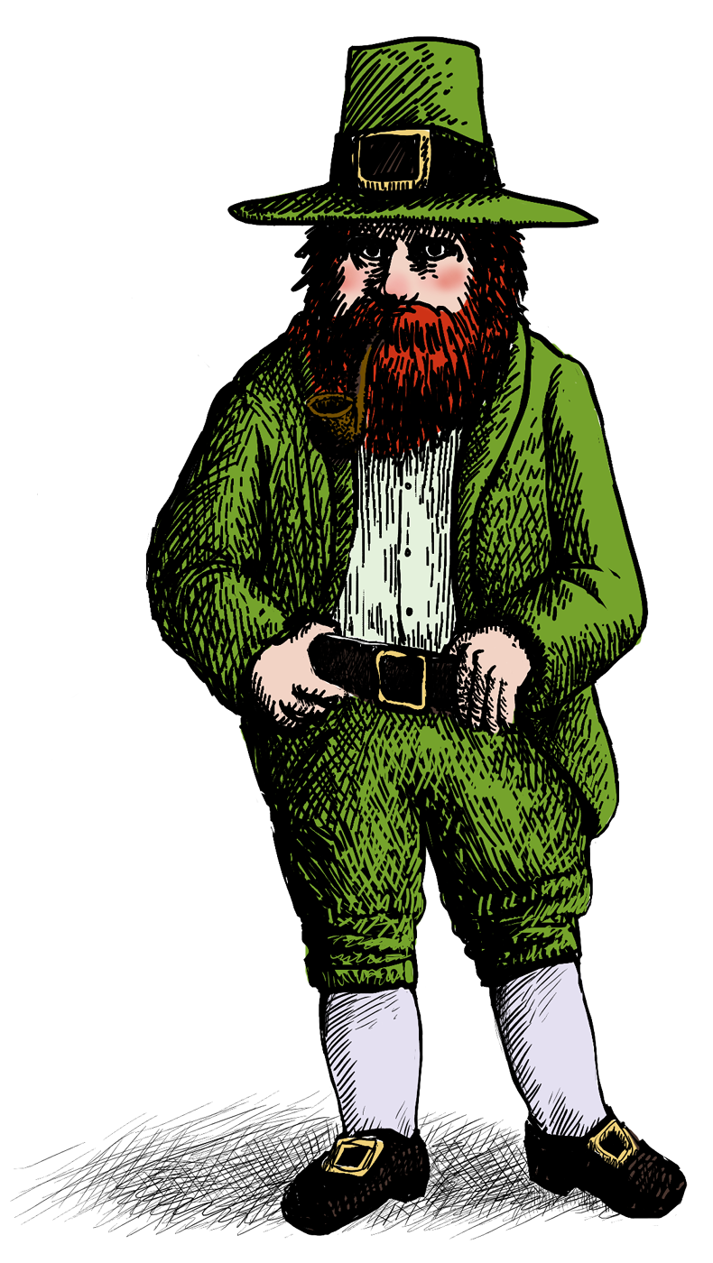 19th century leprechaun illustration. A small man with a bushy red beard and pipe wears a green suit and hat, black shoes, and white knee socks.