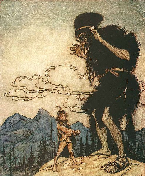 The Valiant Little Tailor by Arthur Rackham. The tailor squeezes liquid from soft cheese as the giant watches.