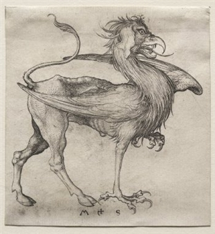 Engraving of a Griffin by Martin Schongauer, ca. 1480. A beast with a lion's body but cloven rear hooves, and the head, front feet, and wings of an eagle.