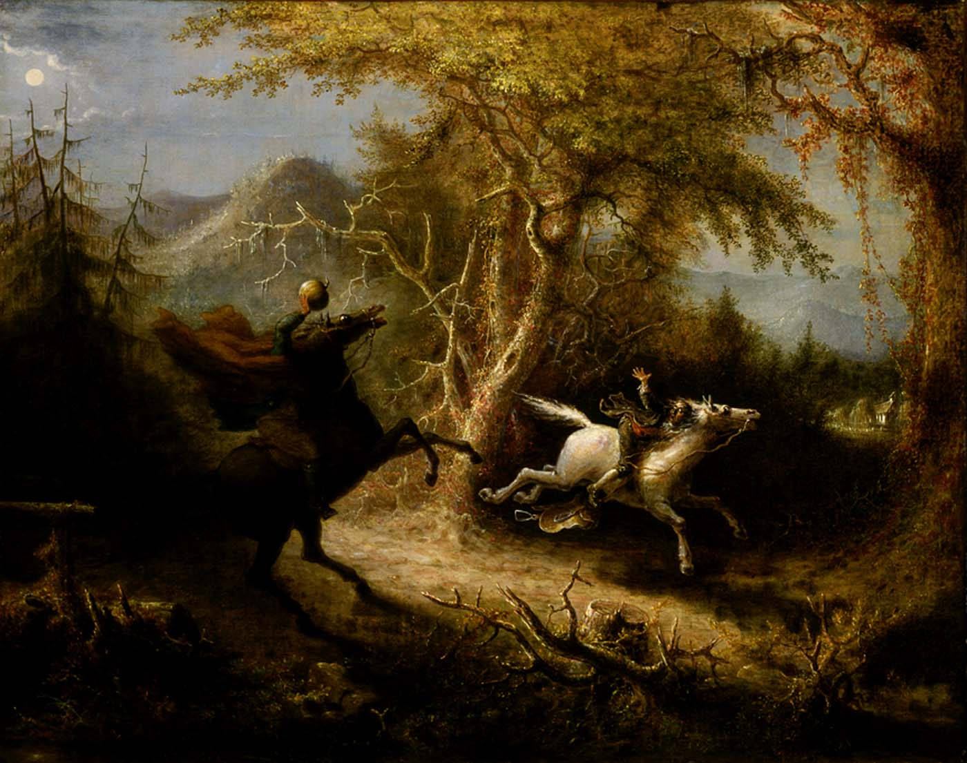 The Headless Horseman Pursuing Ichabod Crane by John Quidor, 1858. Ichabod Crane rides through woodson a white horse, his arm thrown up in alarm. A headless rider with a long cape rides after him on a dark horse.