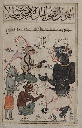 Jinni, late 14th-century manuscript. 4 devils sit talking amongst flowers and grass. Two have horns, two have the face of birds. All wear pants.
