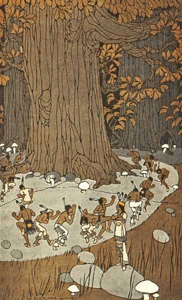 Jo gah oh by W. Fletcher White, 1917. At the base of a large tree, several tiny men in traditional Native American clothing dance in a circle. A small man dressed as the chief stands atop a rock, watching.