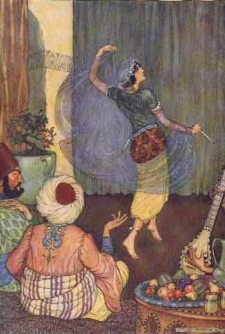 Illustration by Milo Winter, 1914. Morgiana dances, holding a veil. Two men watch from their seats on pillows. A musician plays, and drinks and fruit sit on a platter.
