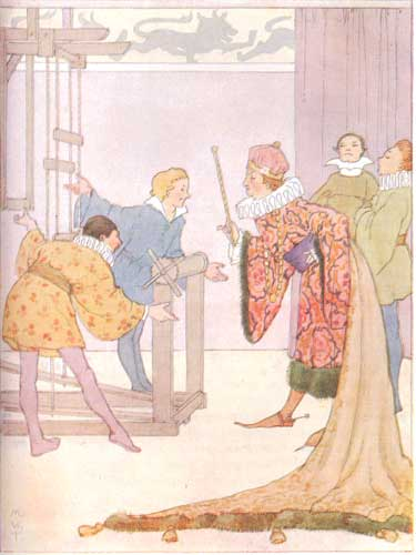 Illustration by Margaret Tarrant, 1910. The emperor examines the empty loom. The two rogues stand with their hands outstretched to display the invisible cloth.