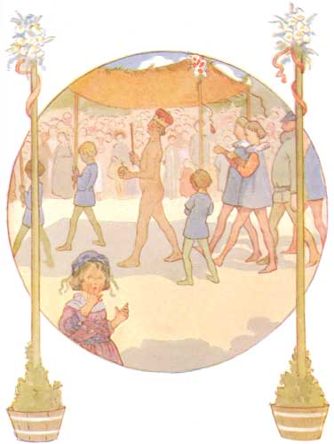 Illustration by Margaret Tarrant, 1910. The emperor walks under a canopy, naked except for his crown and sceptor. Servants hold his invisible train. A child looks at the reader, surprised.