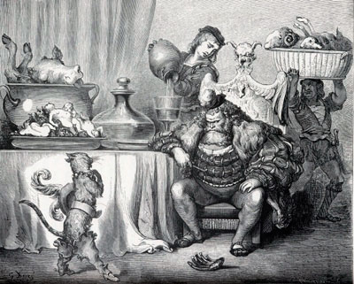 Illustration by Gustave Doré, 1865. The cat, wearing a belt and boots, stands before a large man wearing a fur. Servants pour wine and tote piles of food in large baskets.