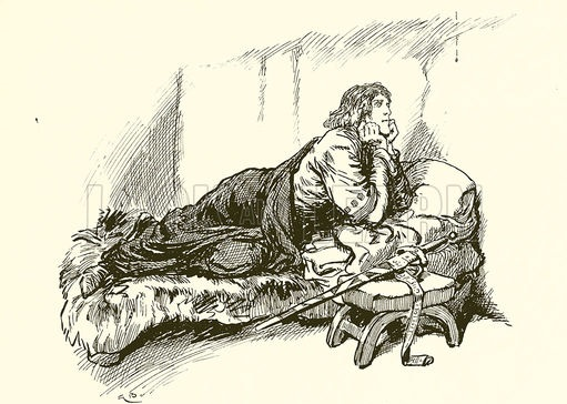 Robert Bruce and the Spider by Ernest Nister, 1895. Robert Bruce lies on his belly, propped up on his elbows in a bed. He watches a spider dangling from a thread. His sword is sheathed next to the bed.