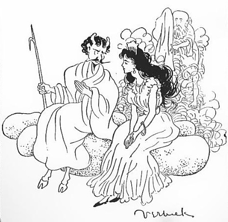 Illustration by Frank Verbeck, 1900. The devil, wearing a mustache and holding a spear, is seated on a rock beside a princess wearing a long dress, jewels, an a comb. A small bald man with a long beard hides behind them.